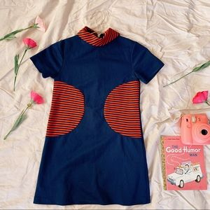 Vintage Mod 60s Striped Collar Shift Girl's Dress